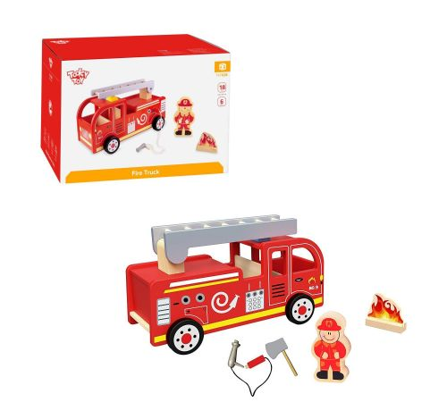 New Childrens Kids Tooky Toy TKF028 Wooden Fire Engine Truck
